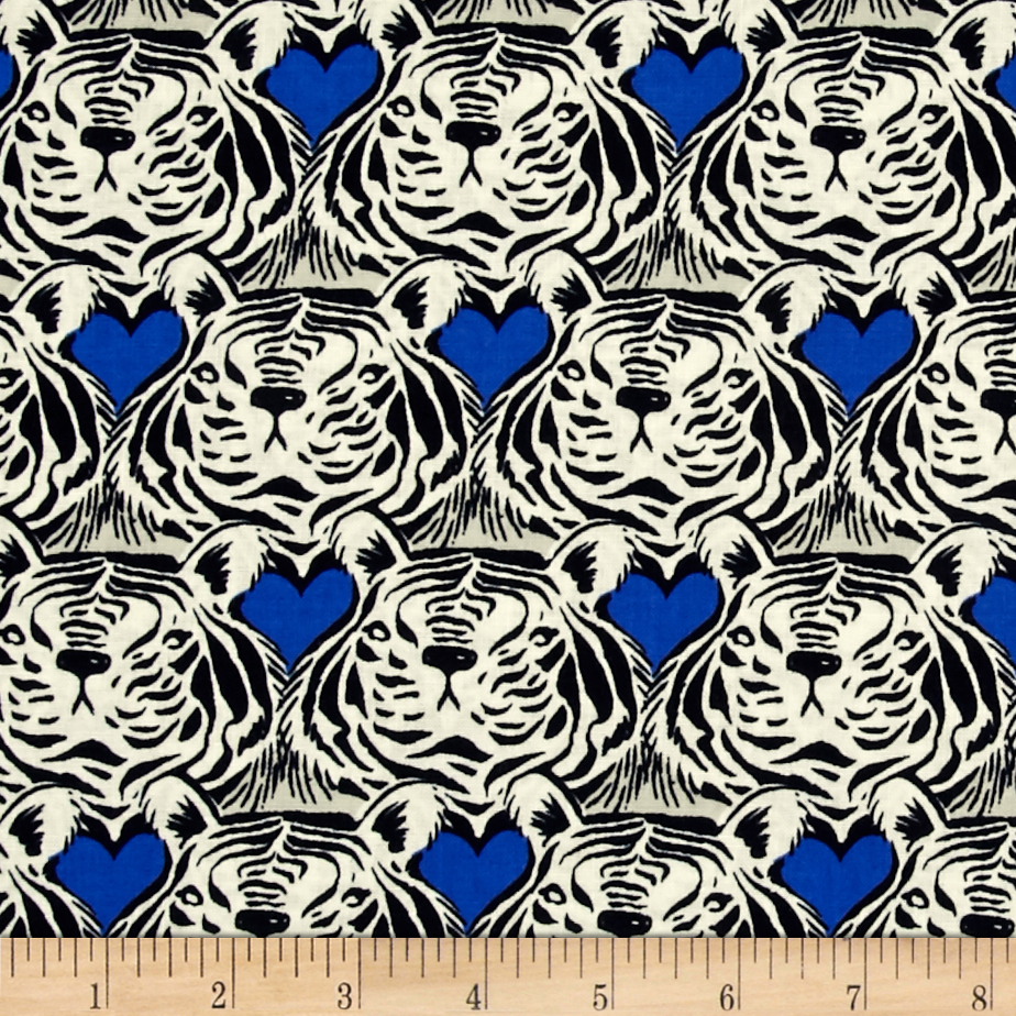 Image of Cotton + Steel Bluebird Tiger Heart Blue Fabric