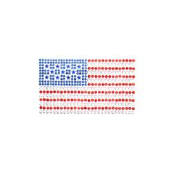 Flag Rhinestud Applique Red/Silver/Blue