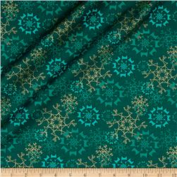 Contempo Merry Little Christmas Metallic Snowflake Teal