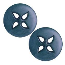 Corozo Button 1 1/8'' Pinwheel Holes Denim