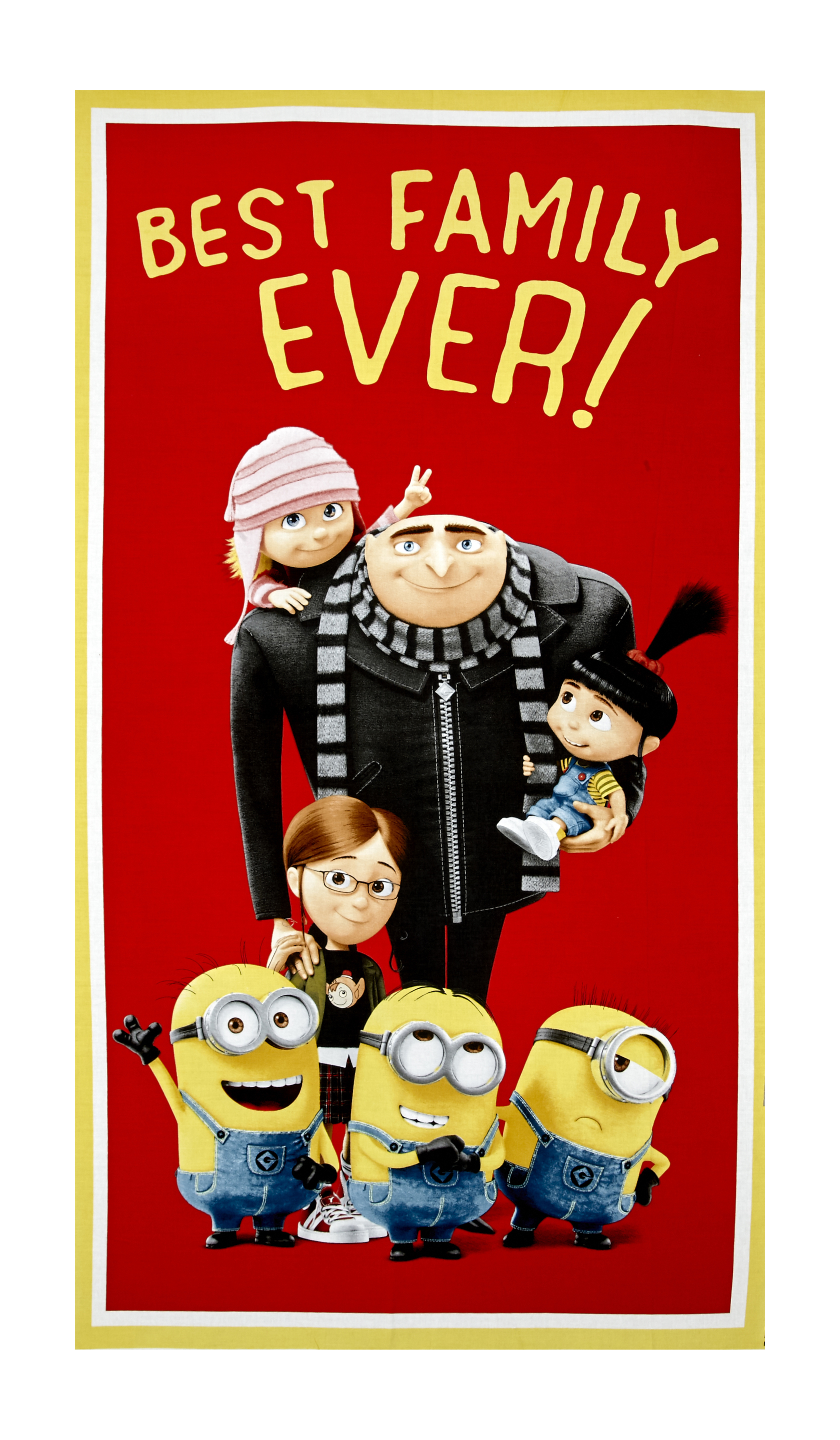 Despicable Me 3 Best Family Ever 24'' Panel Red Fabric 0529441