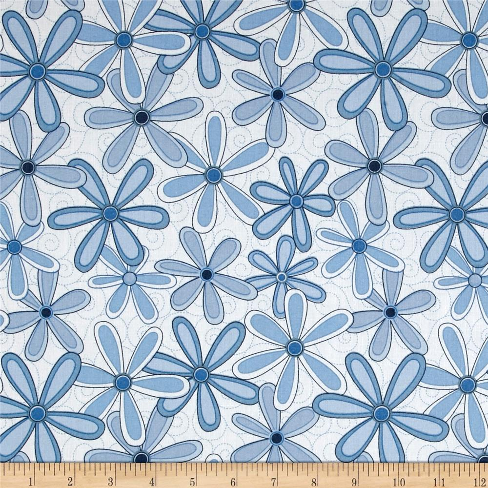 Basically Wide 108'' Quilt Back Floral Blue Fabric