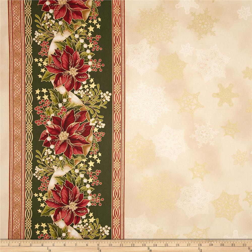 Kaufman Holiday Flourish Metallic 57 In. Wide Double Border Country