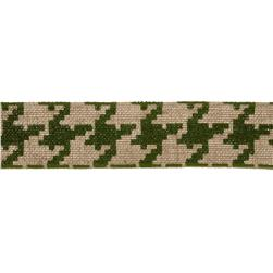 "2 3/8"" Burlap Trim Houndstooth Olive Green"