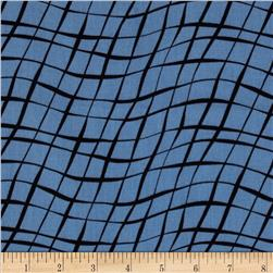 Sketchbook Diagonal Wavy Plaid Blue