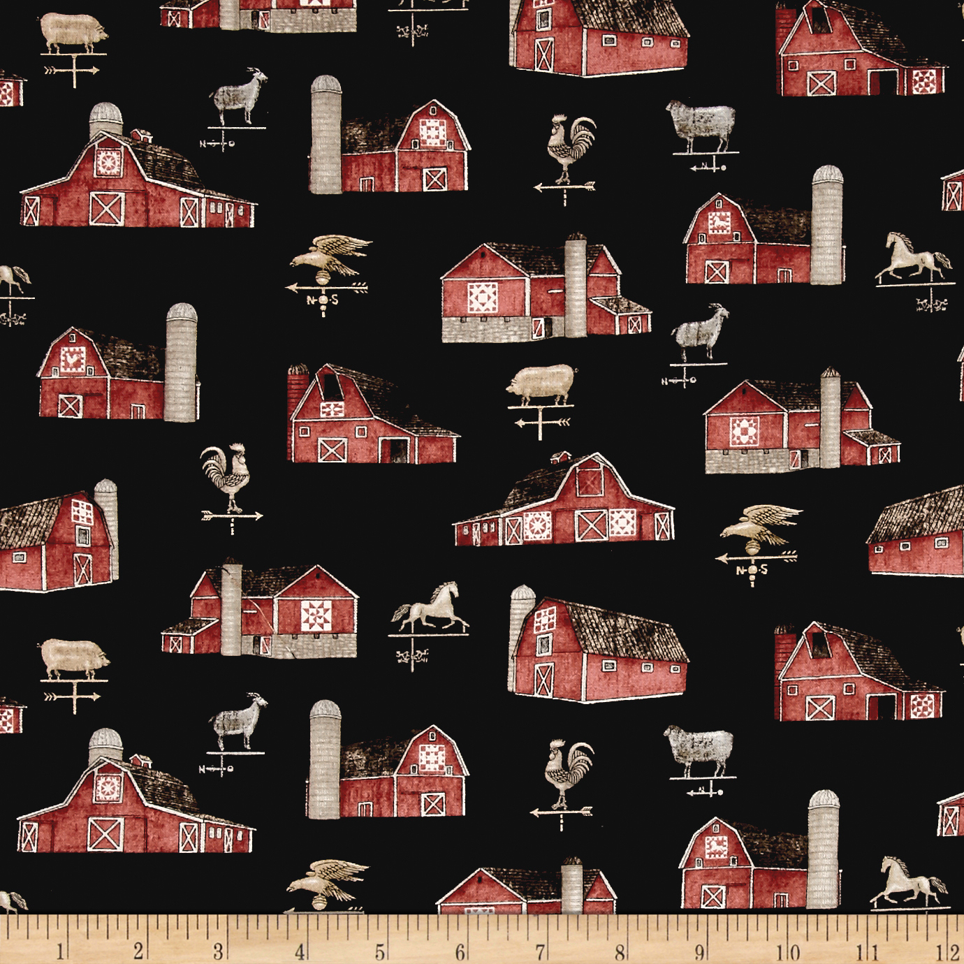 QT Fabrics Bountiful Barns Black