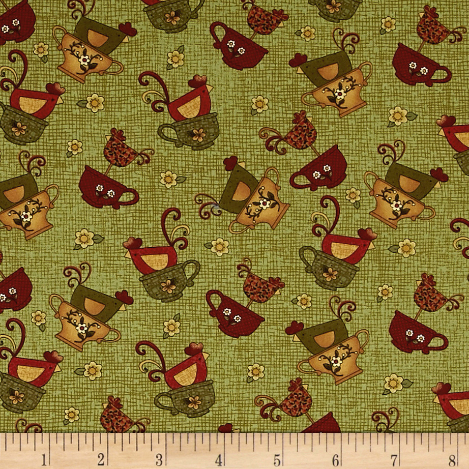 Chicks On The Run Chicks and Cups Green Fabric 0554949