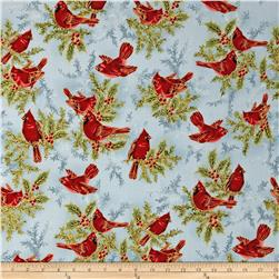 Holiday Flourish 6 Cardinals & Holly Metallic Frost Blue