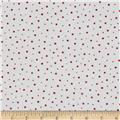 Moda Red Dot Green Dash Brushed Cottons Flurries Winterwhite/Red