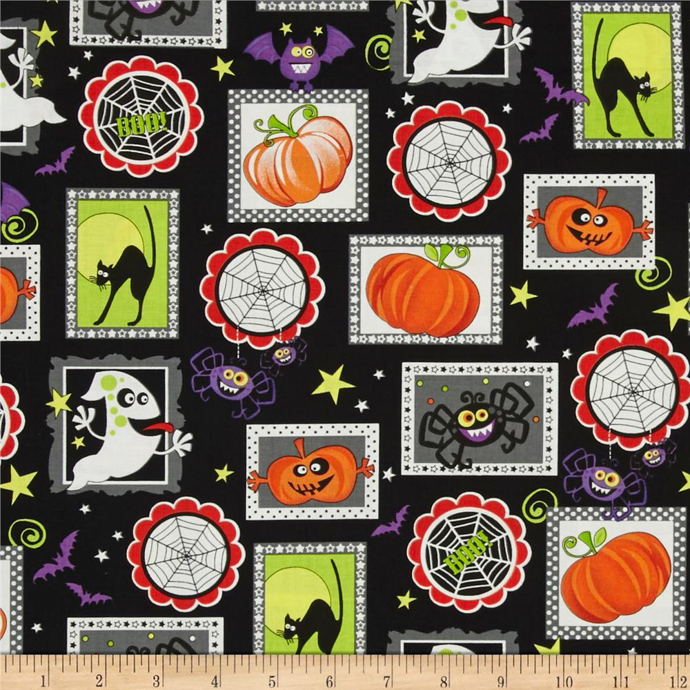 Frightful & Delightful Glow In The Dark Halloween Squares Black Fabric By The Yard