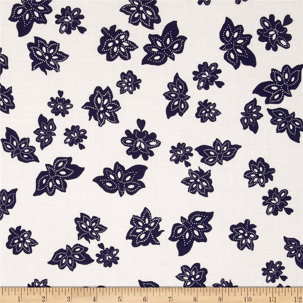 Nancy Gere Low Country Indigo Tossed Flowers Linen