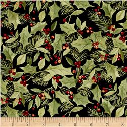 Woodland Deer Christmas Holly Black