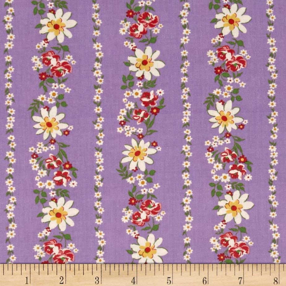 Pinafores & Petticoats Daisies & Roses Stripe Purple Fabric By The Yard