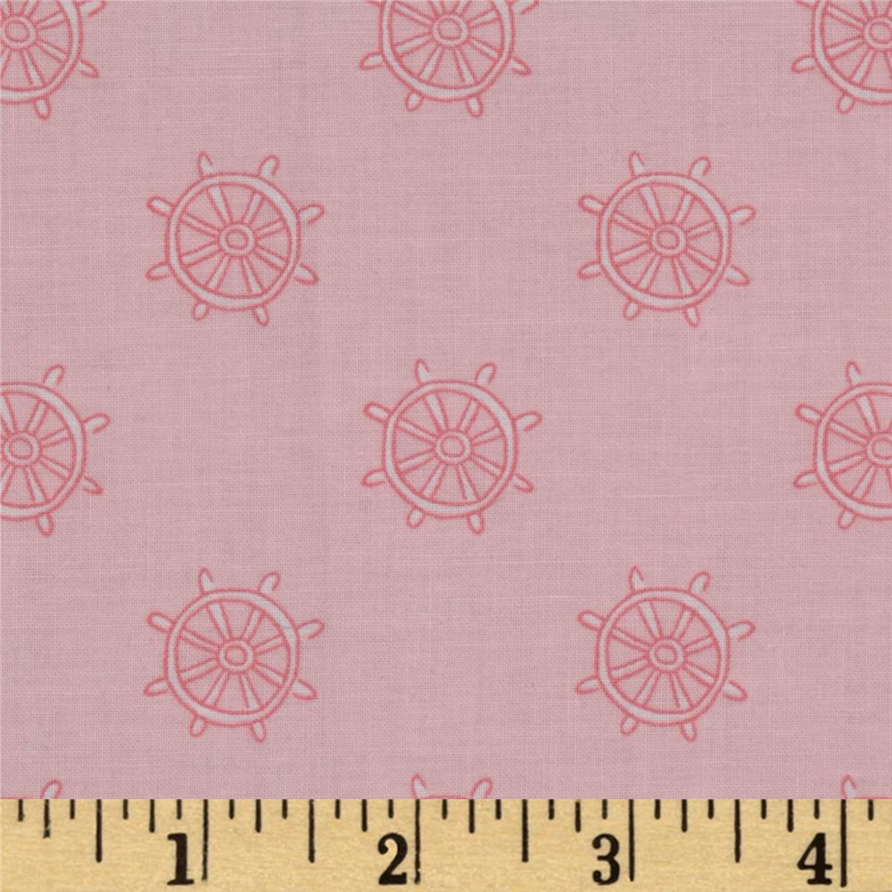 Michael Miller Out To Sea Ship Wheels Pink