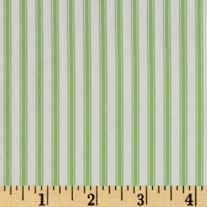 Basics Collection Ticking Stripe Green