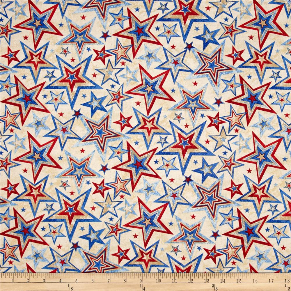 Marblehead valor multi star beige discount designer for Star design fabric