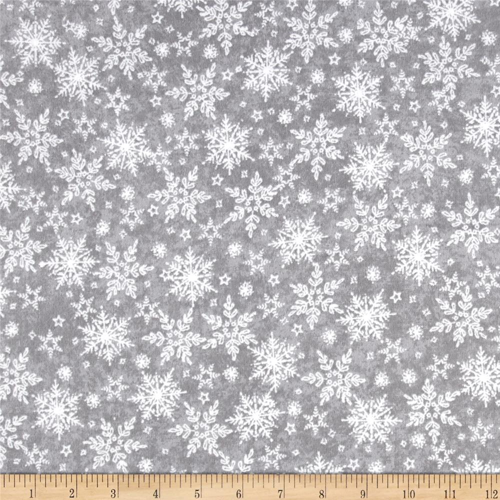 Holiday Frost Flannel Tonal Snowflake Gray