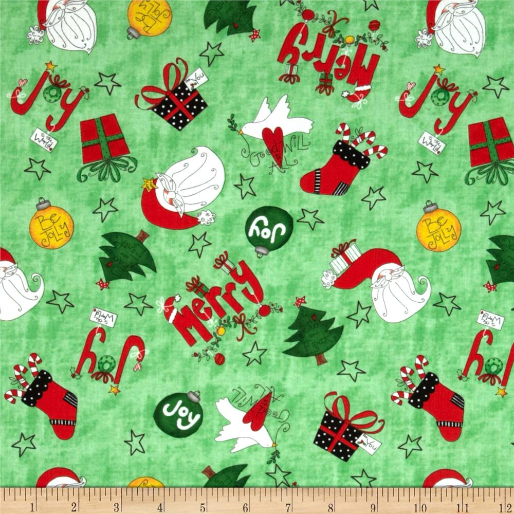 Happy Holly Days Decorations & Presents Green