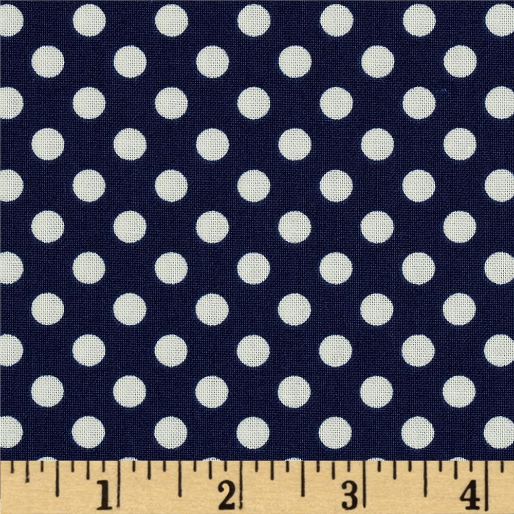 Riley Blake Le Creme Basics Small Dots Navy/Cream
