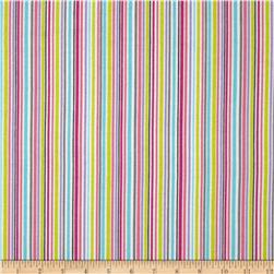 Michael Miller Baby Flannel Zoo Littles -It's a Girl Thing- Stripe/Raindow