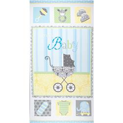 Precious Baby Flannel Panel Blue Fabric