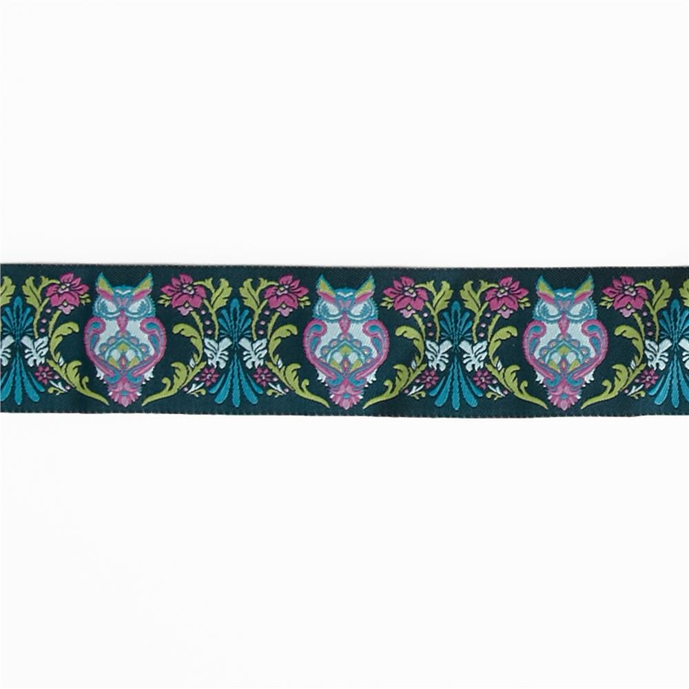 "1 1/2"" Tula Pink Blue Full Moon Owls Ribbon"