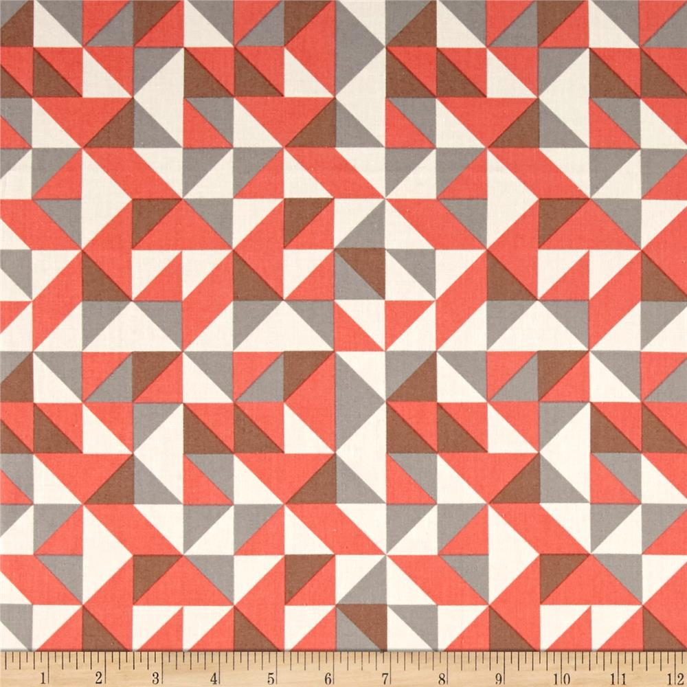 Kaufman Fragmental Diamond Plaid Salmon