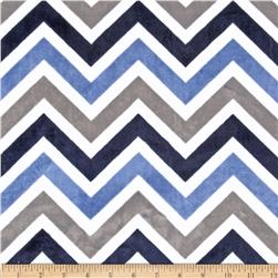 Minky Cuddle Zig Zag Denim/Ivory Fabric