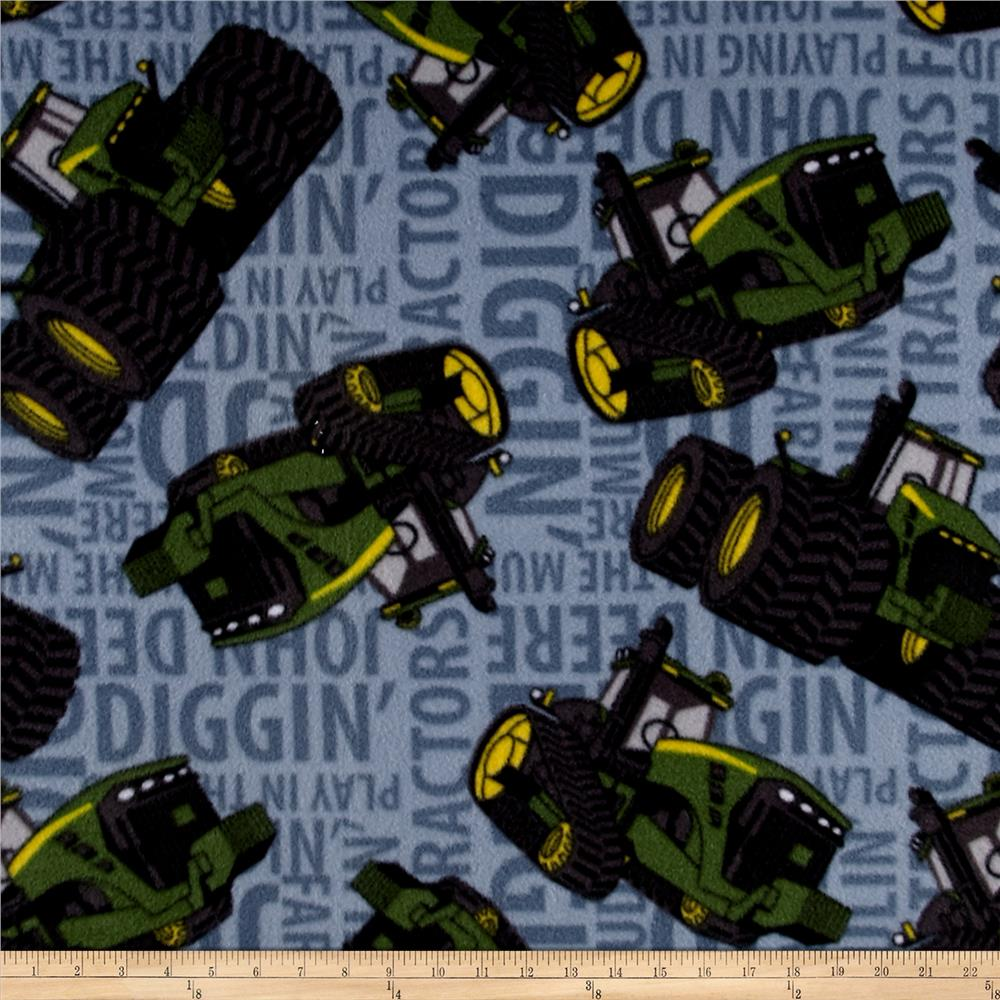 John Deere Fleece Tractors Words Blue Fabric