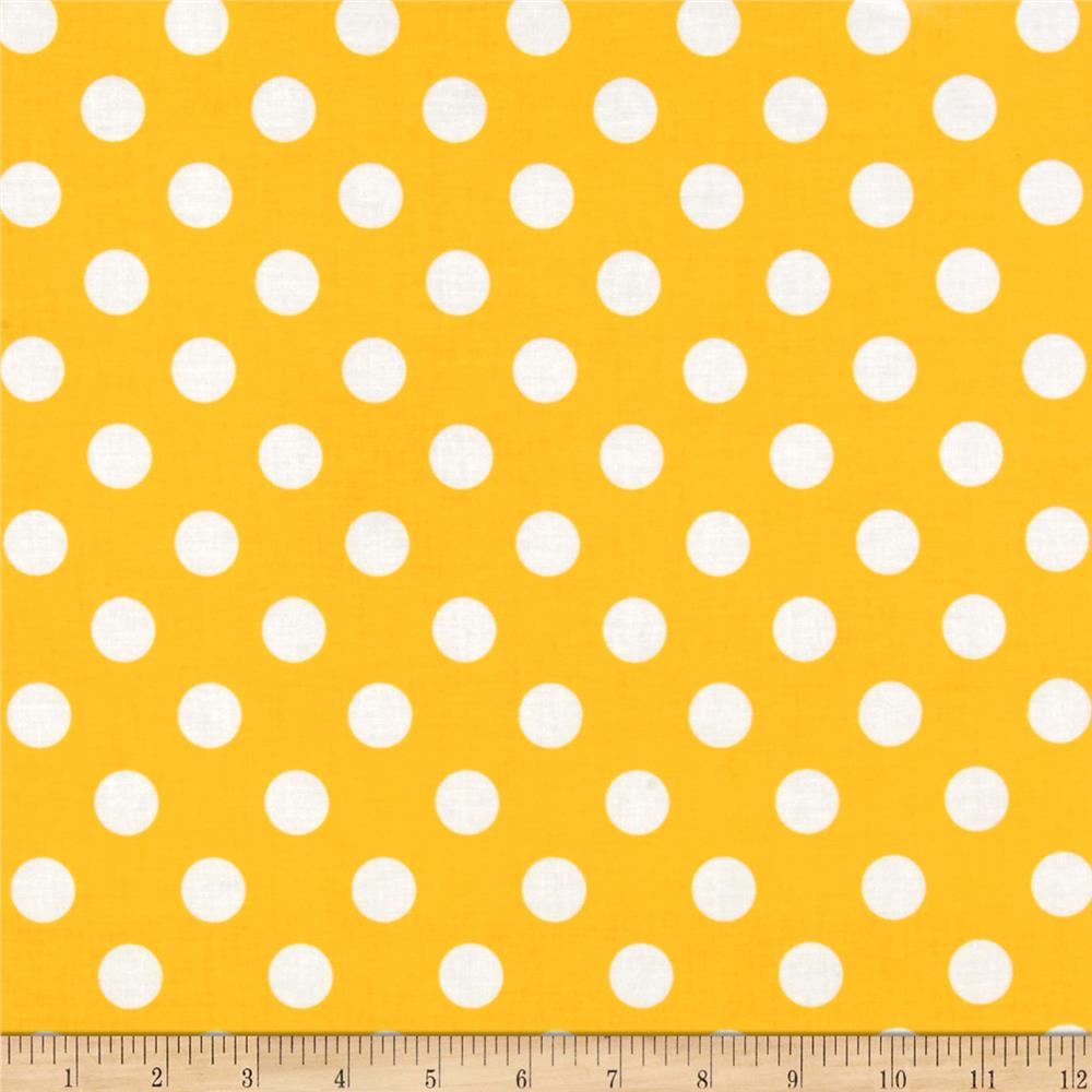 Riley Blake Laminate Medium Dots Yellow/White