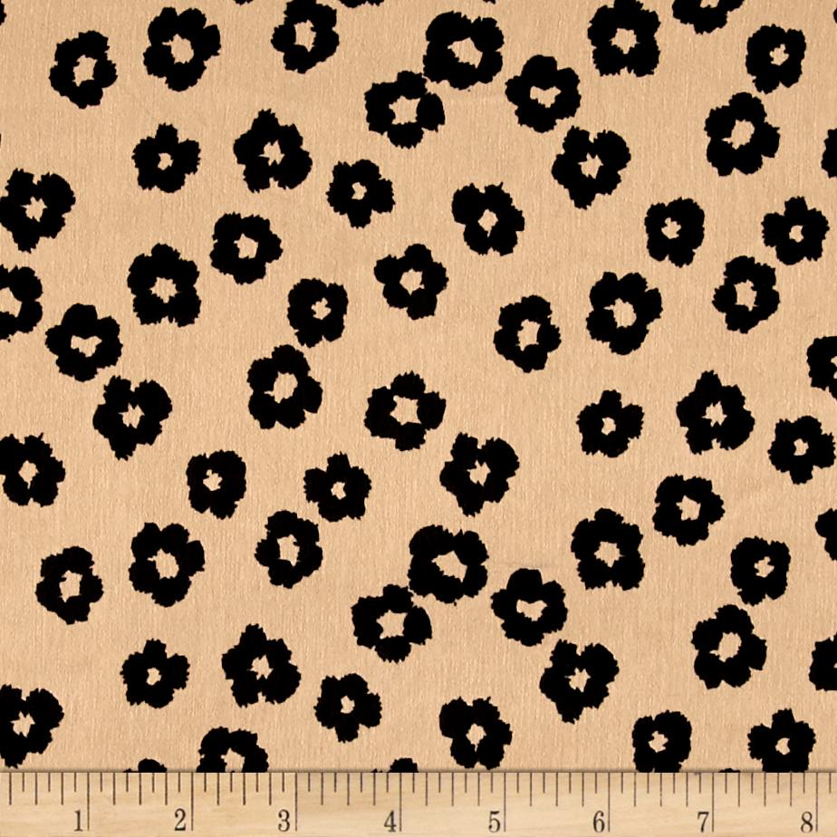 Europa Silky Polyester Satin Shirting Mini Abstract Black Flower on Khaki Fabric
