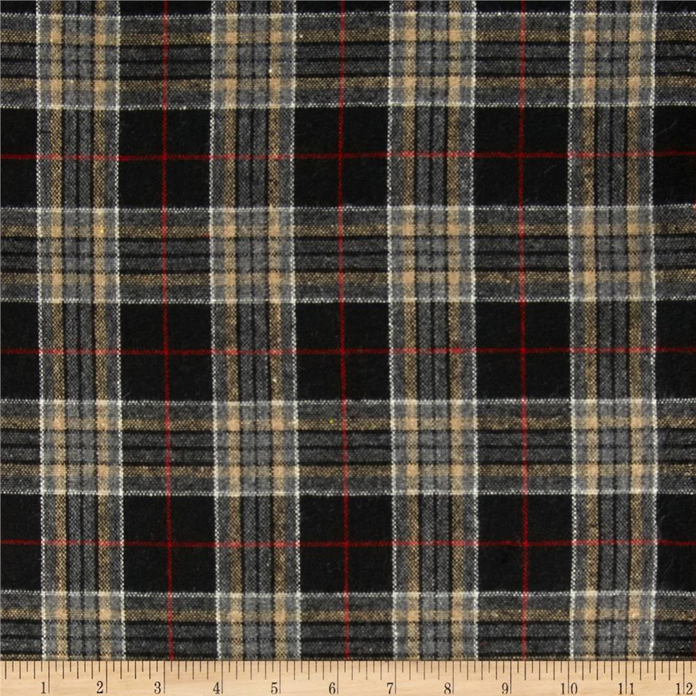 Yarn Dyed Brushed Suiting Plaid Black/White