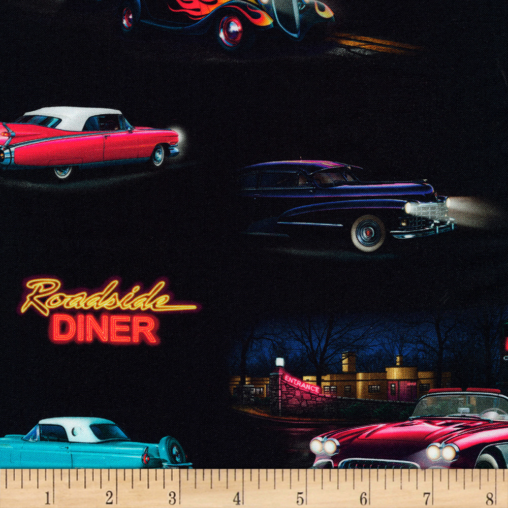 1950s Fabrics & Colors in Fashion Kaufman On The Road Vintage Cars Retro Fabric $11.08 AT vintagedancer.com