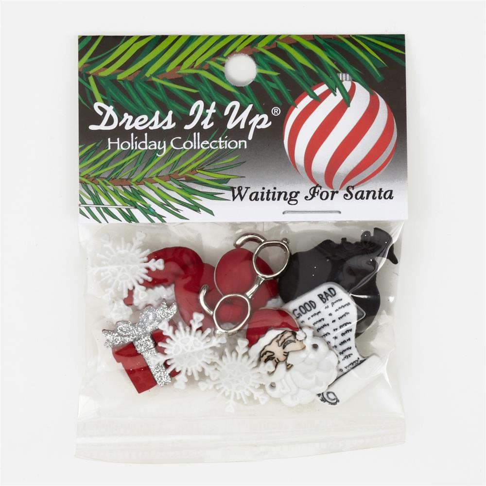 Dress It Up Embellishment Buttons  Waiting For Santa
