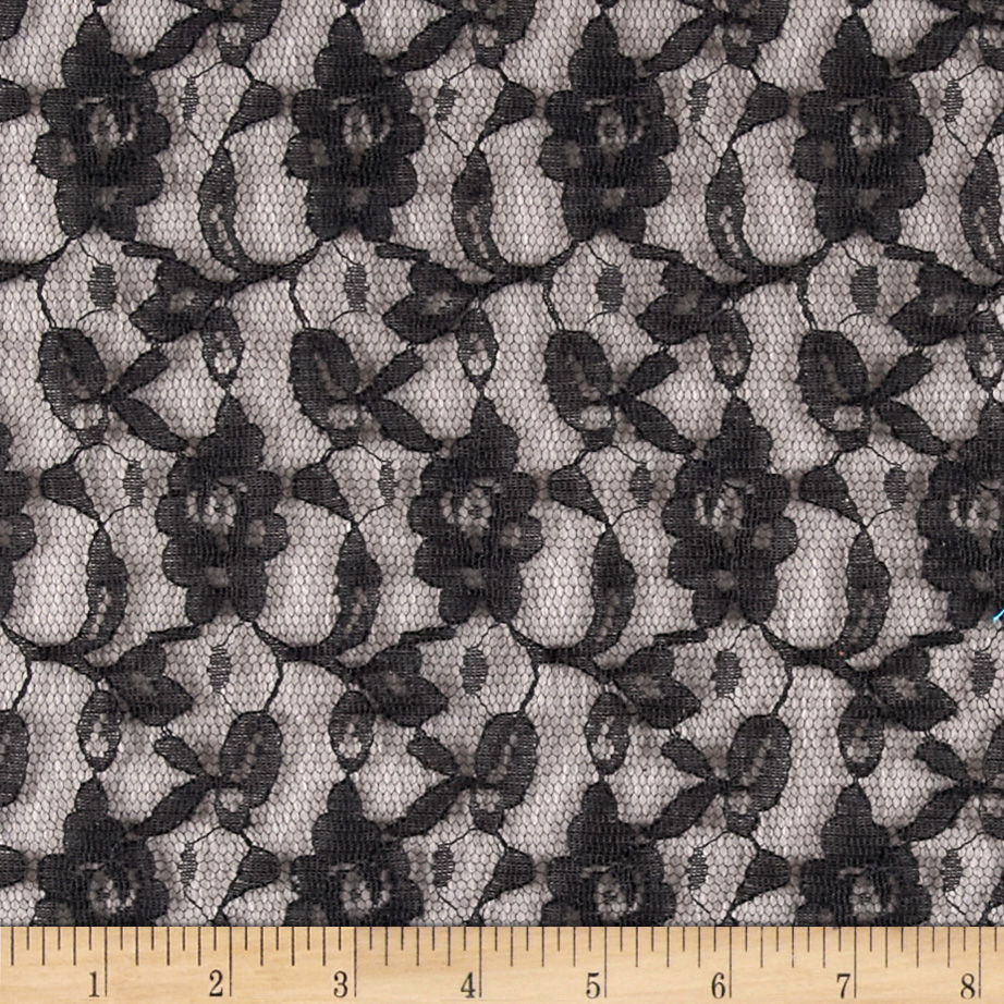 Novelty_Lace_Floral_Black_Fabric