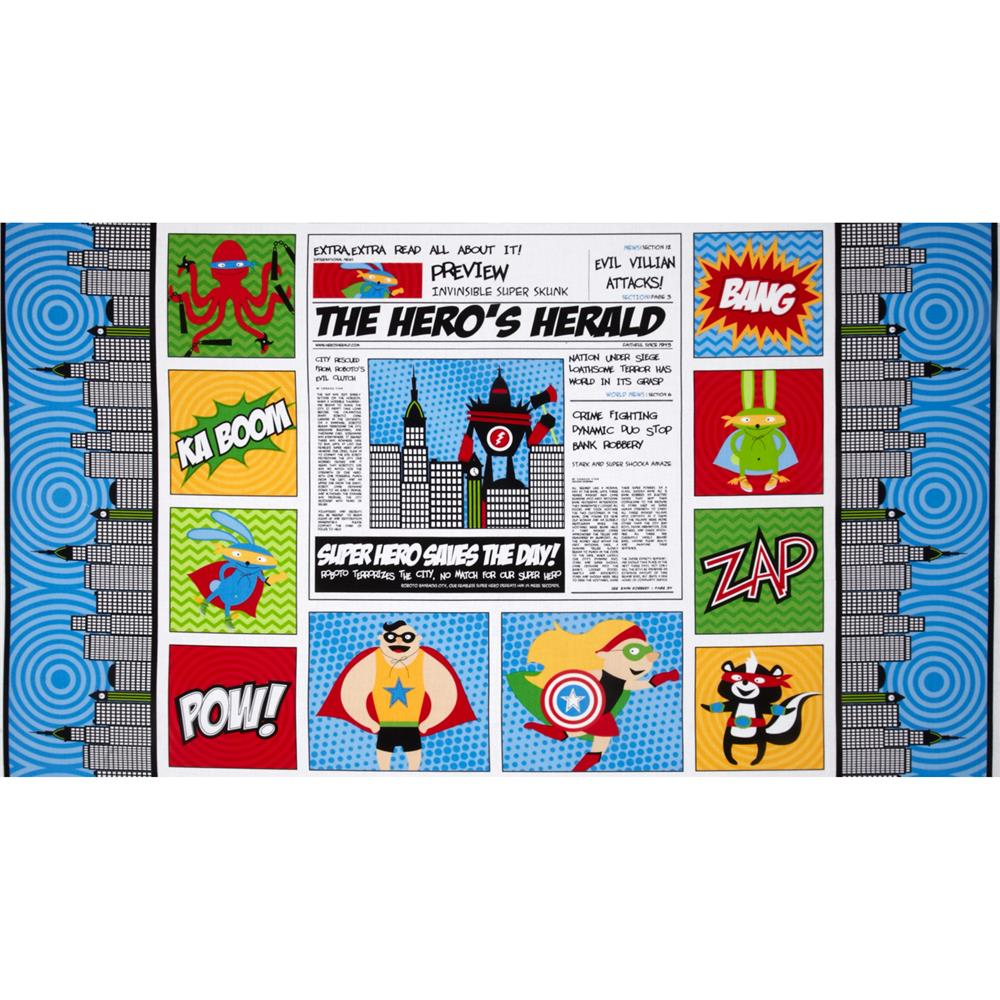 Superhero Adventure Newspaper Panel Blue