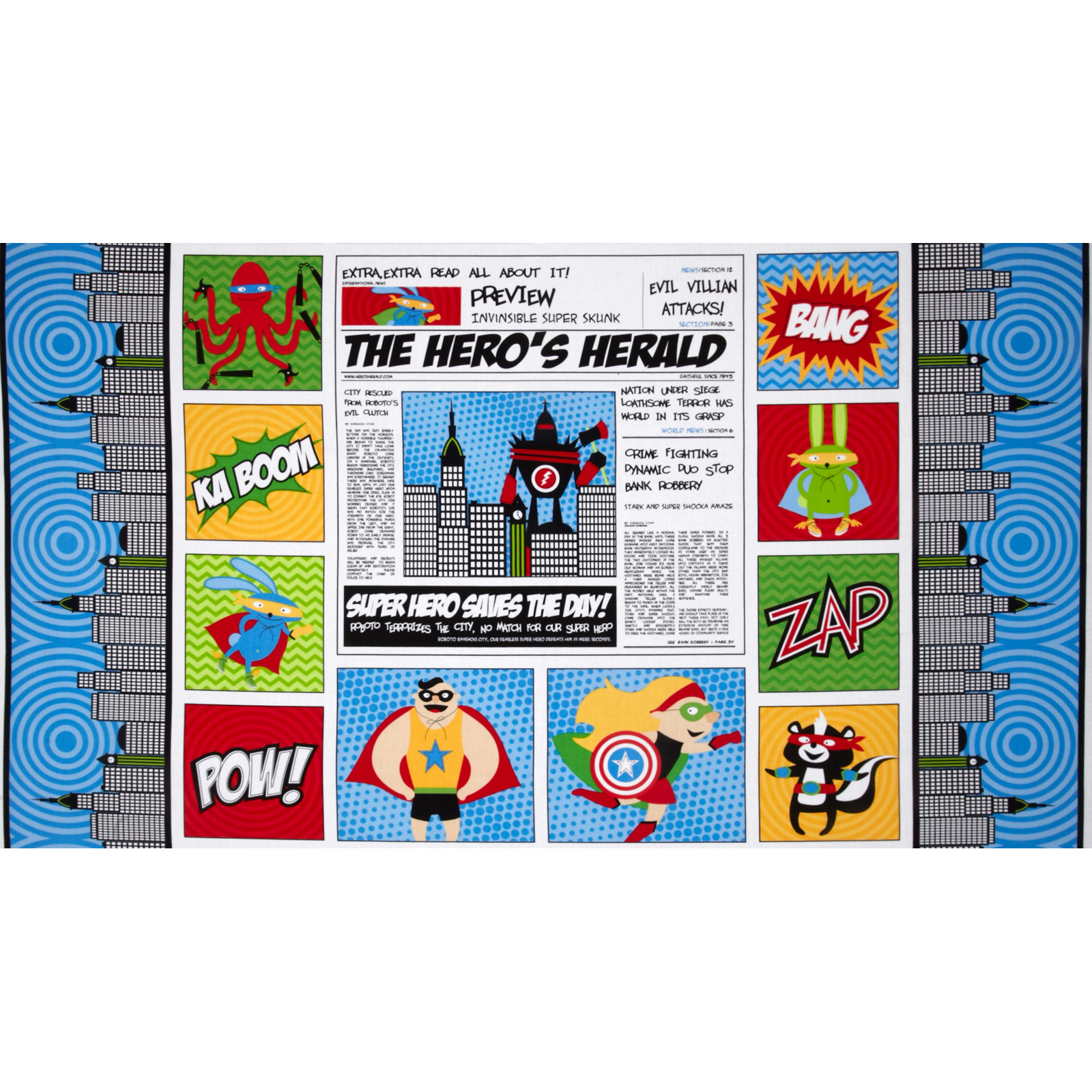 Superhero Adventure Newspaper Panel Blue Fabric