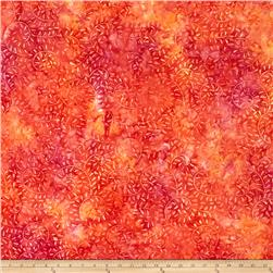 Batavian Batiks Curling Leaves Pink/Orange