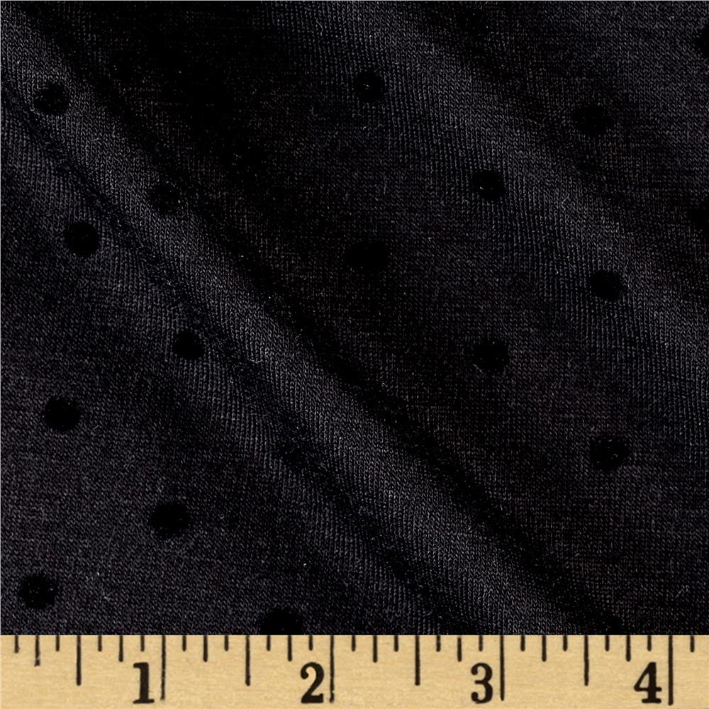 Jersey Knit Black Mini Polka Dots