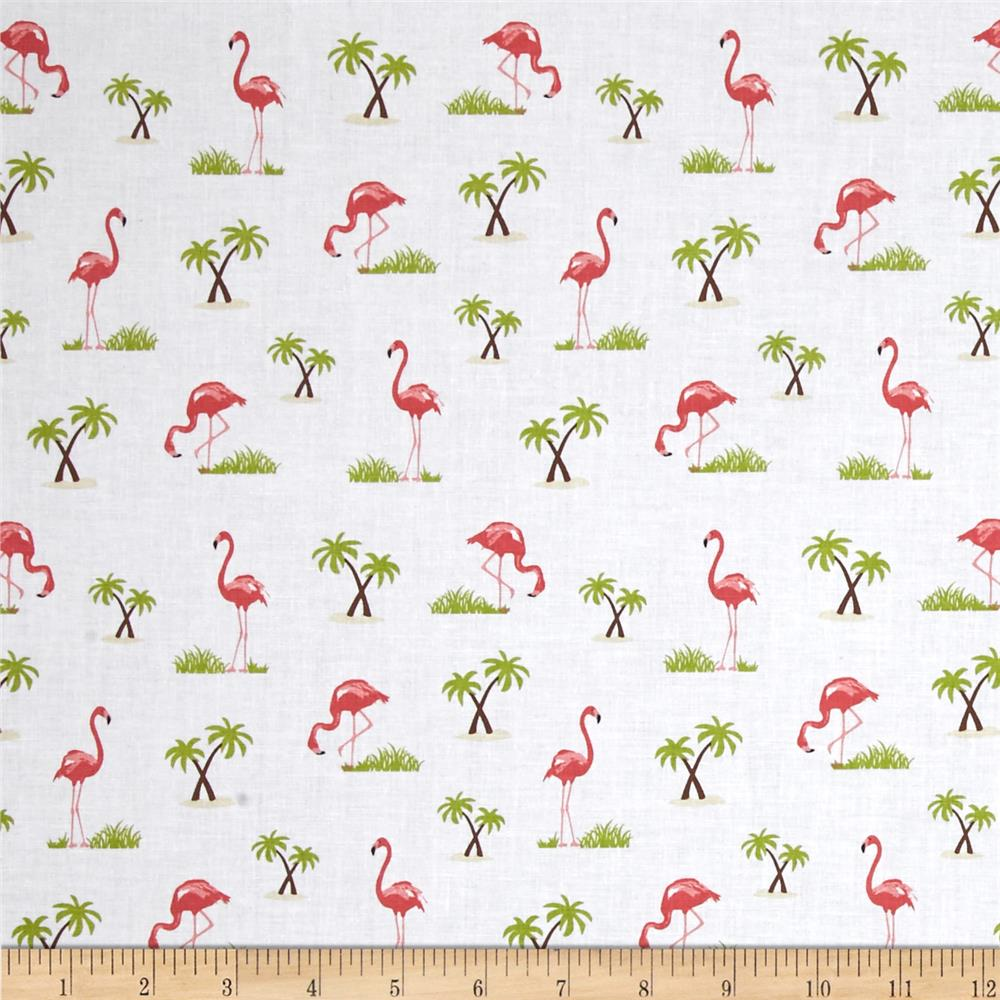 Riley Blake Novelty Flamingo White