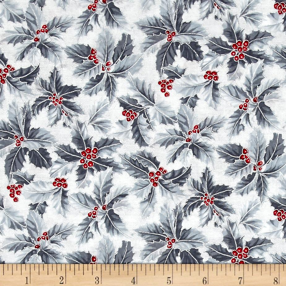 Winter Blossom Metallic Holly Leaves Frost/Silver
