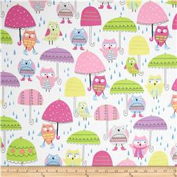 Spring Showers Owls & Umbrellas White Fabric