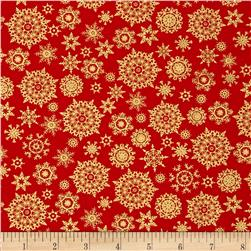 Golden Christmas Metallic Gold Snowflakes Red
