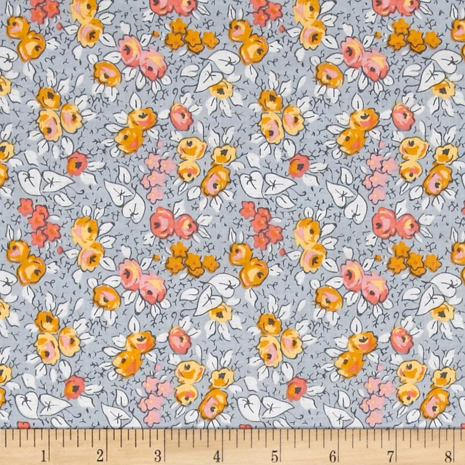 Penny Rose Linen and Lawn Floral Gray Fabric