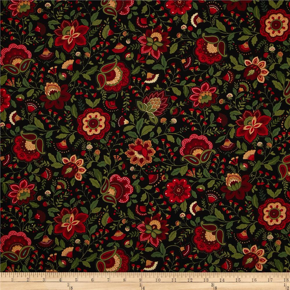 Timeless Treasures Jasmine Jacobean Floral Black