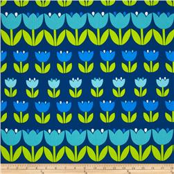 Contempo Palm Springs Tulips Navy Fabric