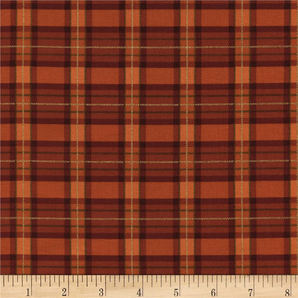 Timeless Treasures Golden Harvest Metallic Plaid Orange