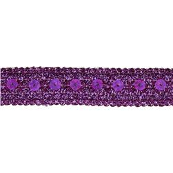 "3/4"" Adriana Metallic Sequin Braid Trim Roll Purple"