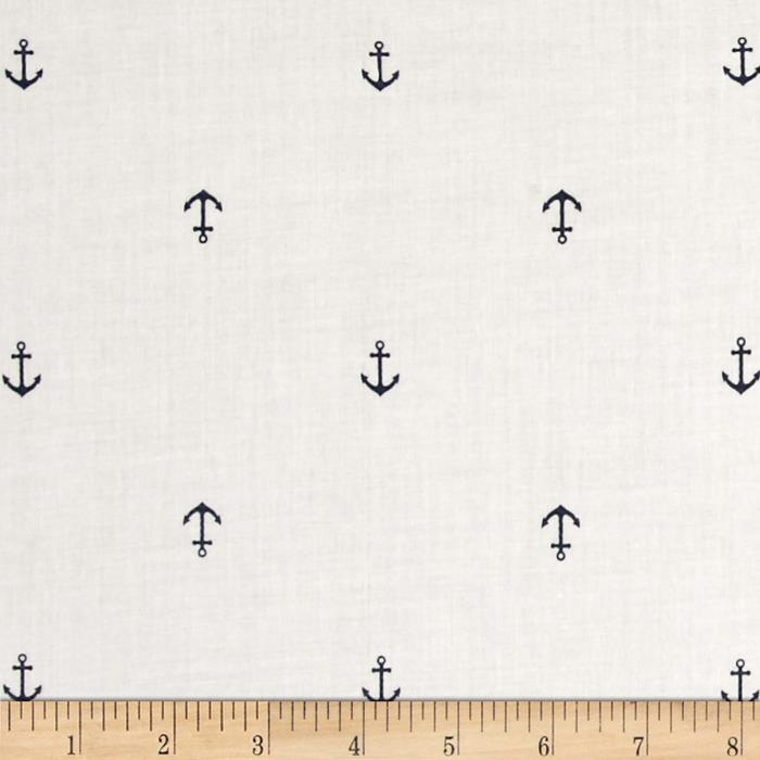 Kaufman Cambridge Cotton Lawn Mini Print Anchor Navy