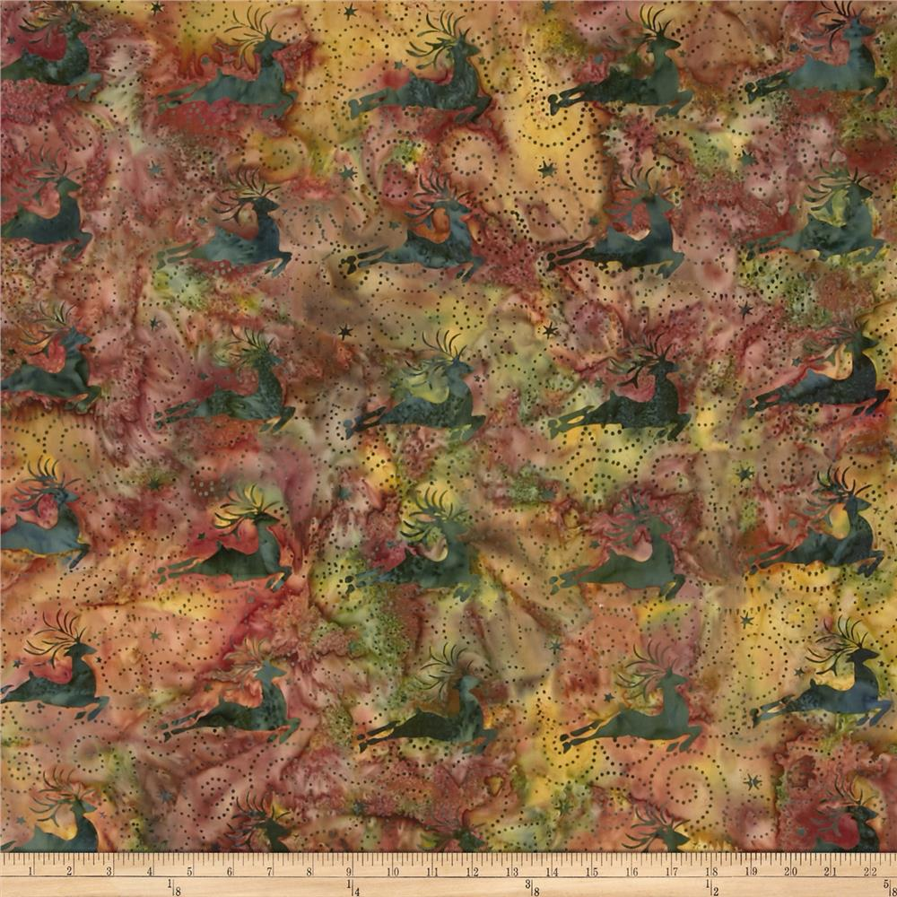 Island Batik Deer Green/Gold/Red